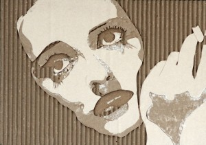 Cardboard Relief Portrait – Bette Davis