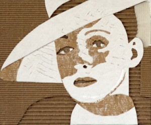 Cardboard Relief Portrait – Bette Davis (with hat)