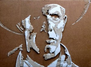 Cardboard Relief Portrait – Cowboy