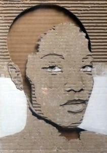 Cardboard Relief Portrait – Untitled