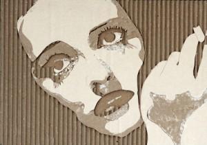 Cardboard Relief Portrait – Bette Davis