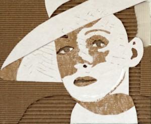 Cardboard Relief Portrait – Bette Davis (with hat)