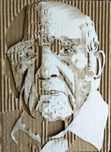 Cardboard Relief Portrait – Old Man