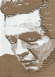 Cardboard Relief Portrait – Young Johnny Cash